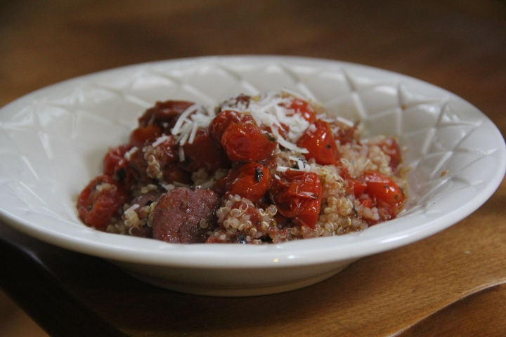 Garlicky Quinoa with Chicken Sausage