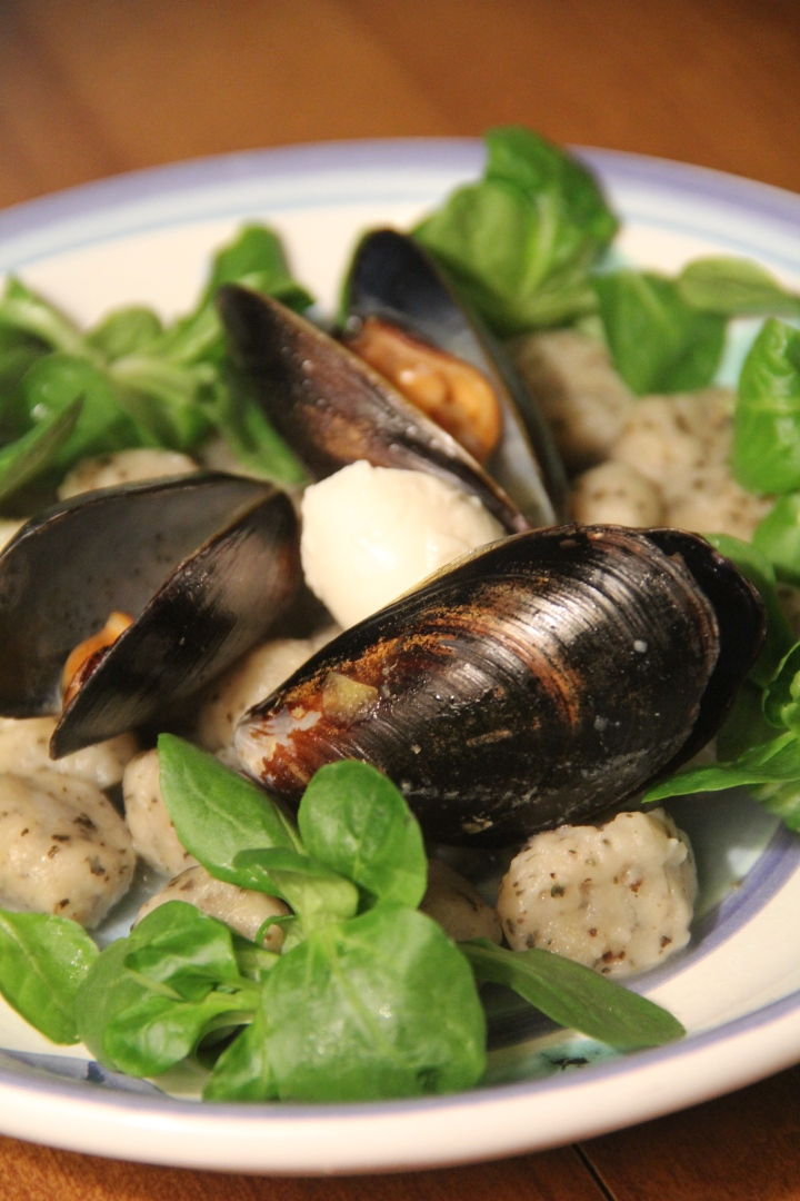 Mussels, Vanadium, and a Bed of Mache Rossettes