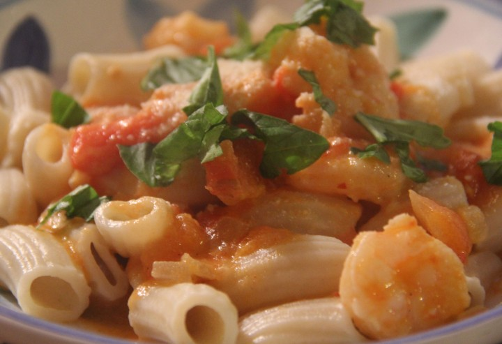 Semolina Rigatoni with Shrimp, Scallops, and Sun Gold Tomatoes