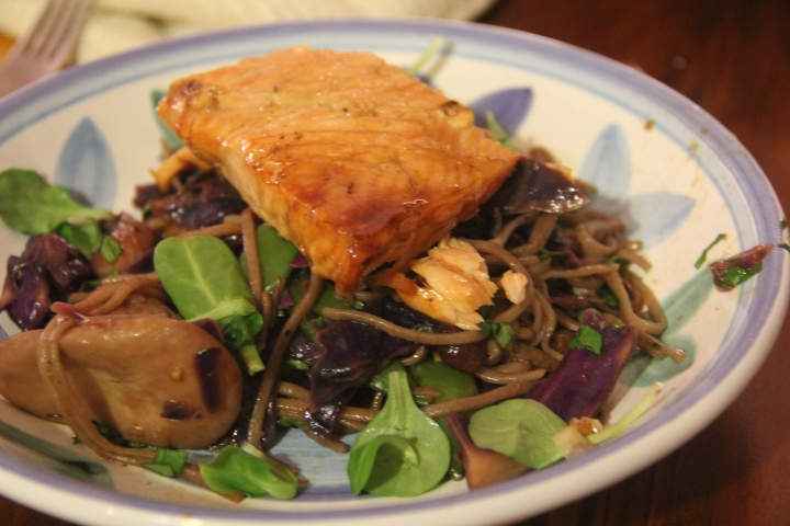 Buckwheat Soba Veggie Stir Fry  topped with Wild Salmon