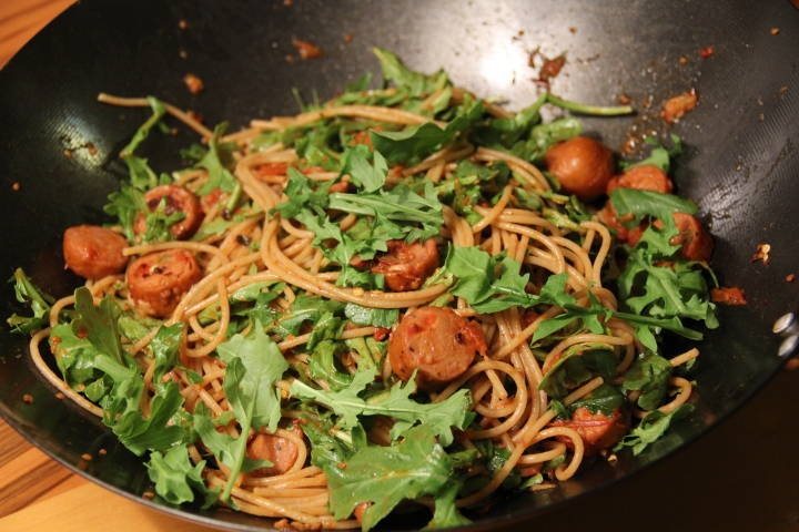 Spaghetti with Garlic Arugula and Chicken Sausage