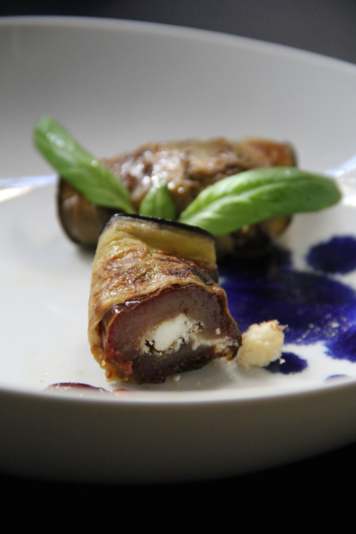 Eggplant Wrapped Dates with Goat Cheese
