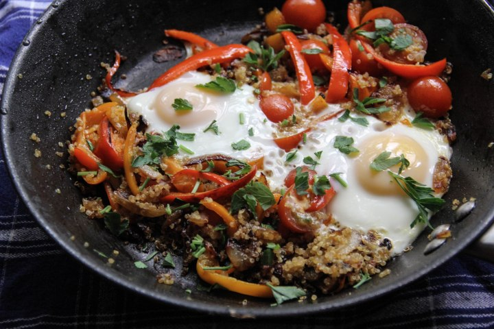 Eggs over Spicy Red Pepper Quinoa