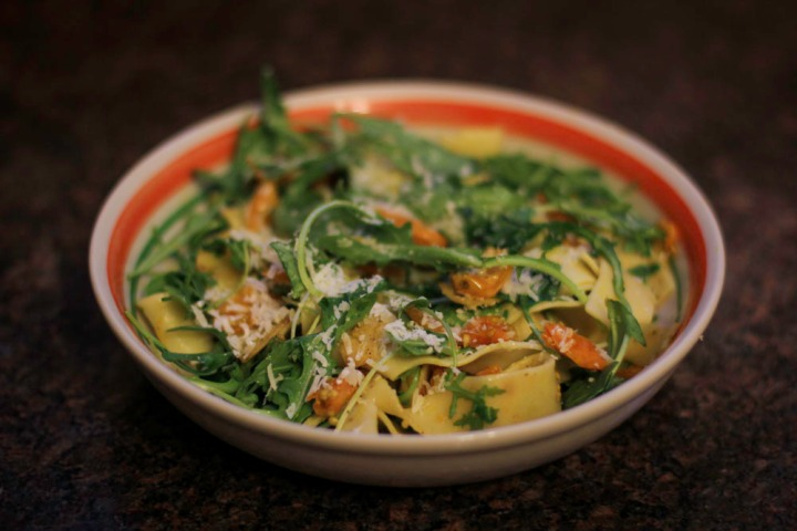 Pappardelle with Sun Gold Tomato Sauce and Arugula