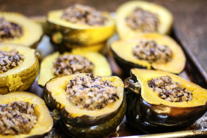 Acorn Squash Stuffed with Wild Rice Risotto